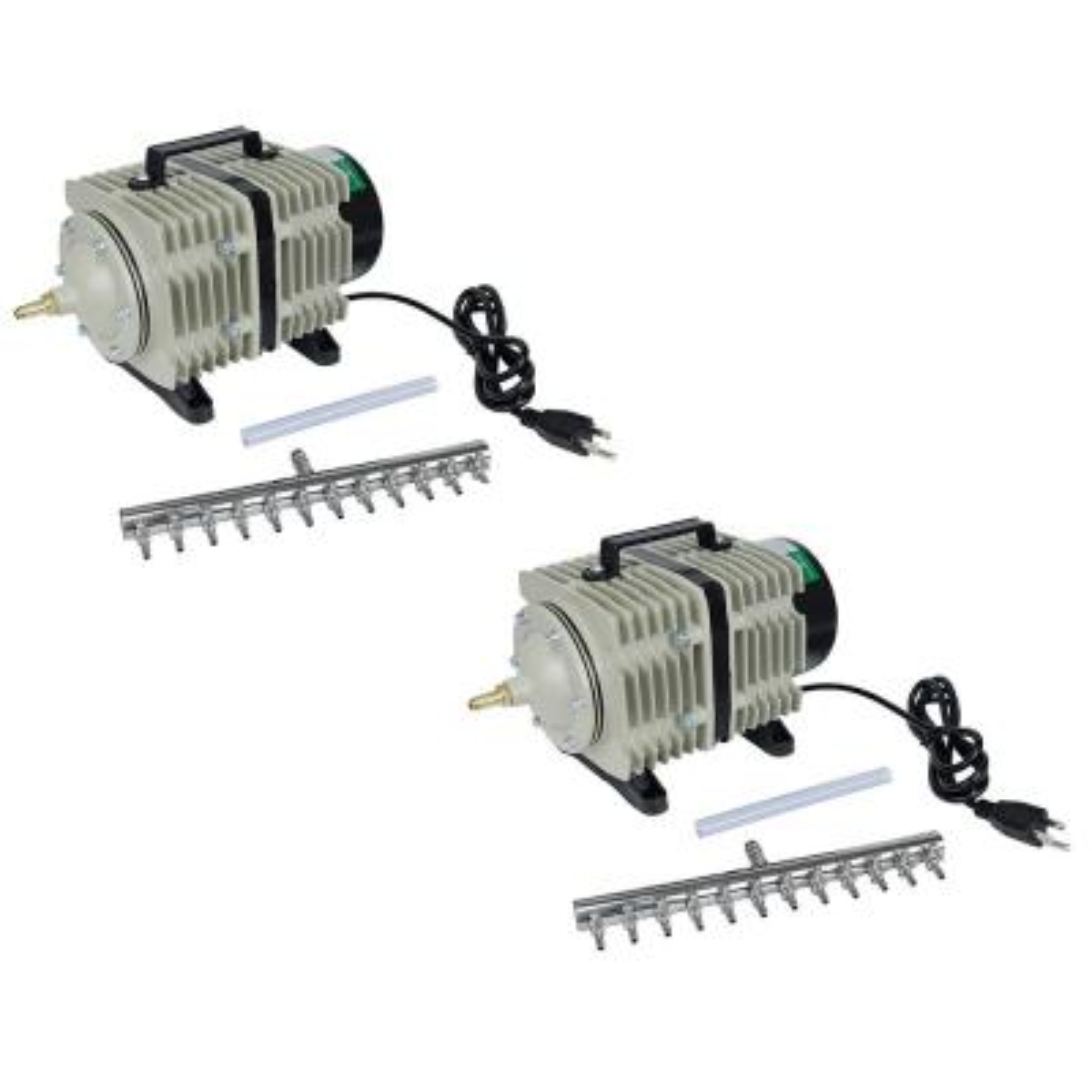 112-Watt 110LPM Active Aqua Commercial Air Pumps with 12-Outlets (2-Pack)