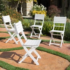 Positano White Foldable Wood Outdoor Dining Chair (4-Pack)