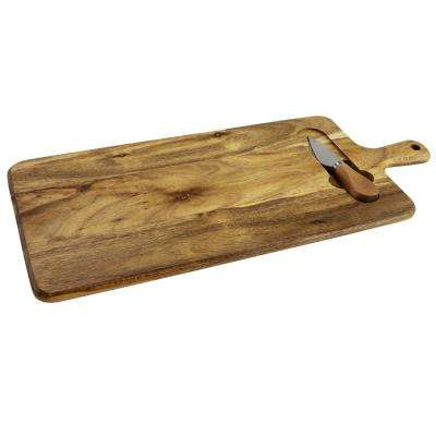 Gracious Dining 2-Piece Wood Cheese Board Set with Knife