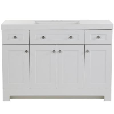 Everdean 48.5 in. W x 18.75 in. D Vanity in White with Cultured Marble Vanity Top in White with White Basin