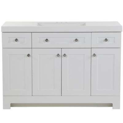 Everdean 48.5 in. W x 18.75 in. D Vanity in White with Cultured Marble Vanity Top in White with White Sink