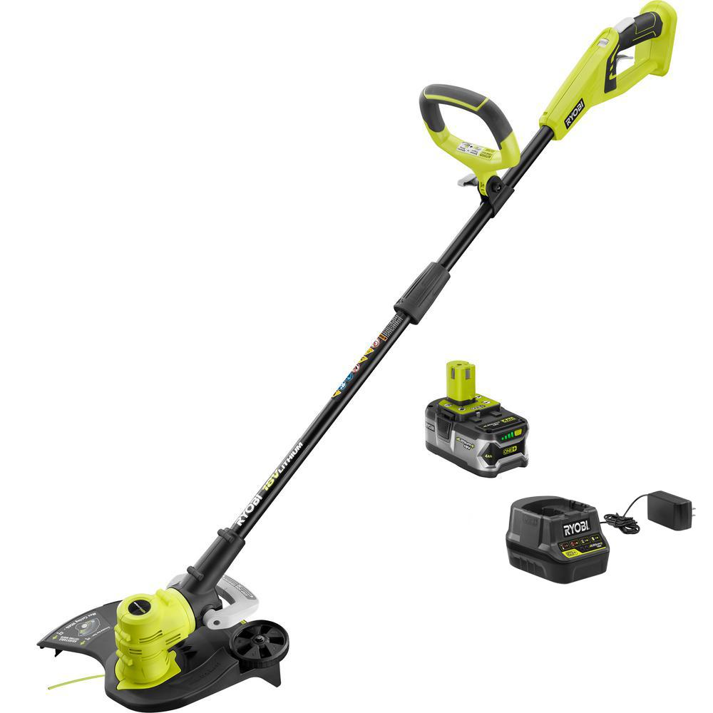 ONE+ 18-Volt Lithium-Ion Cordless String Trimmer/Edger - 4.0 Ah Battery and Charger Included