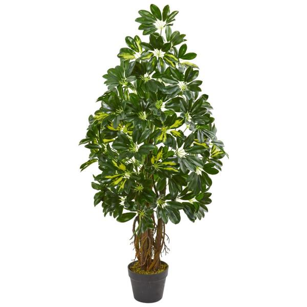 Nearly Natural 4 Ft Indoor Schefflera Artificial Tree 9134 The Home Depot