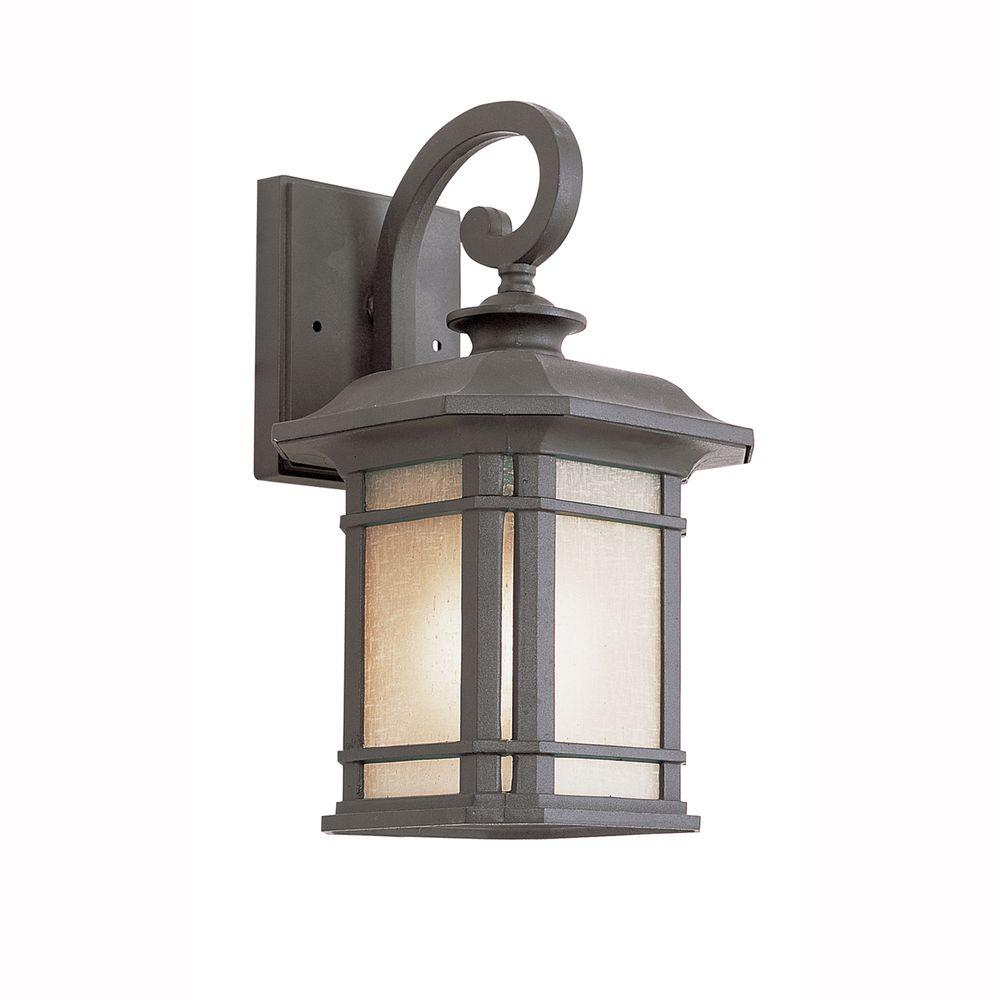 Energy Saving 1-Light Outdoor Black Coach Lantern with Tea Stained Linen