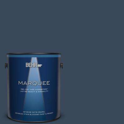 1 gal. #M500-7 Very Navy Satin Enamel Interior Paint and Primer in One