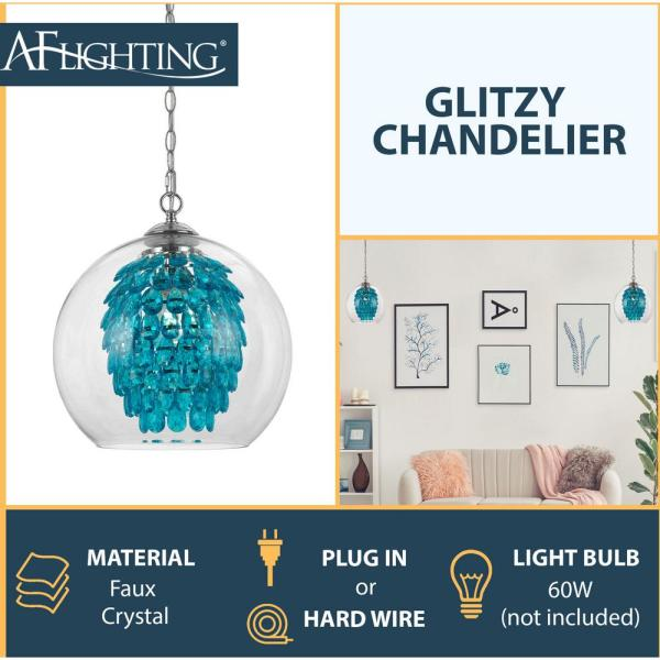 Light Turquoise Chandelier 9102 1h