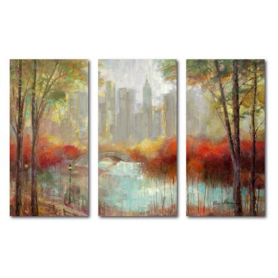 """3-24 in. x 36 in. panels """"City Canvas"""" 3 Multi-Panel Gallery-Wrapped Printed Canvas Wall Art"""