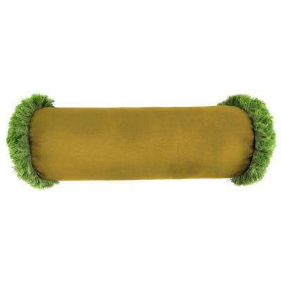 Sunbrella 7 in. x 20 in. Canvas Maize Bolster Outdoor Pillow with Gingko Fringe
