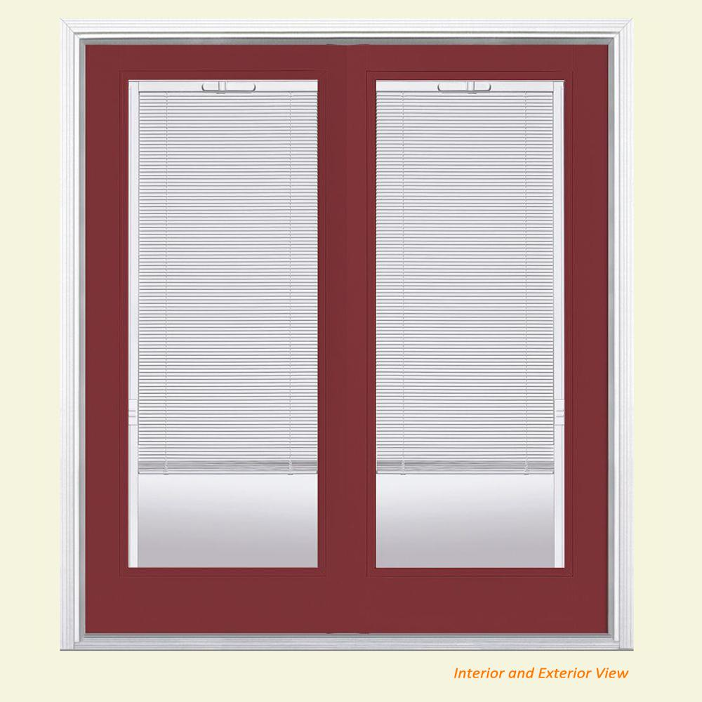 Masonite 60 in. x 80 in. Red Bluff Steel Prehung Left-Hand Inswing Mini Blind Patio Door in Vinyl Frame with Brickmold
