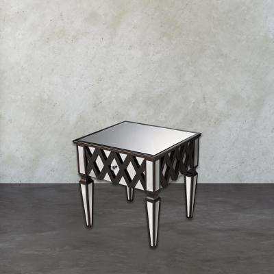London Espresso Mirrored Side Table