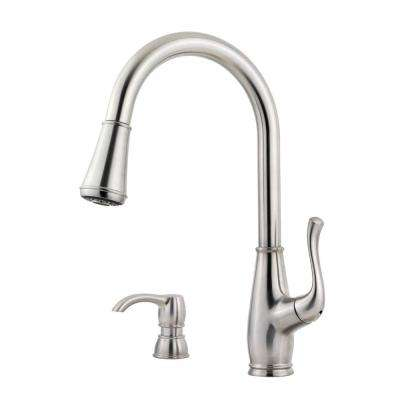 Sedgwick Single-Handle Pull-Down Sprayer Kitchen Faucet with Soap Dispenser in Stainless Steel