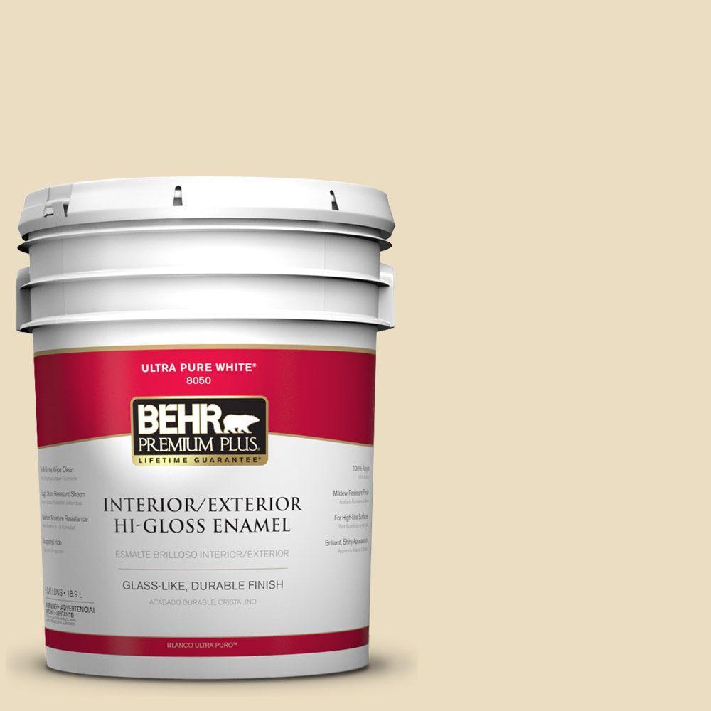 BEHR Premium Plus 5-gal. #ECC-23-1 Golden Haystack Hi-Gloss Enamel Interior/Exterior Paint