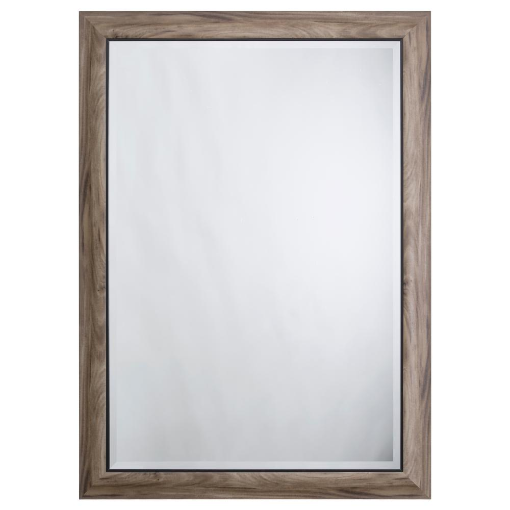 Yosemite Home Decor Mirror With Frame In Gray Wood Black Trim
