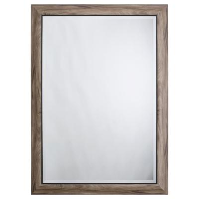 Large Rectangle Gray Wood In Black Trim Beveled Glass Casual Mirror (43 in. H x 31 in. W)