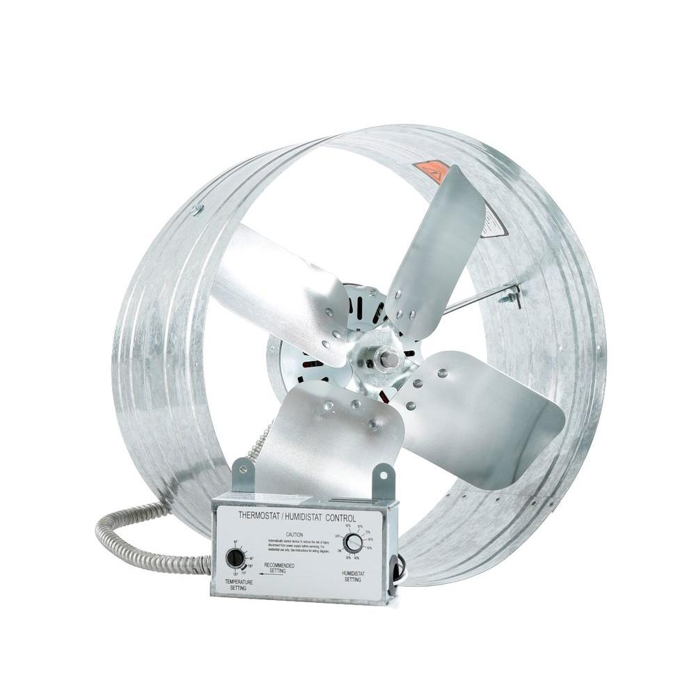 iLIVING 14 in. Single Speed Gable Mount Attic Ventilator Fan with Adjustable Thermostat and Humidistat