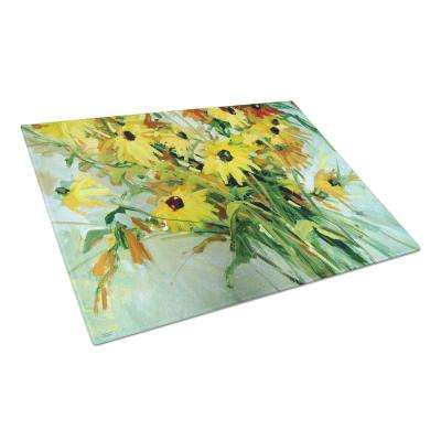 Wildflower Bouquet Flowers Tempered Glass Large Heat Resistant Cutting Board