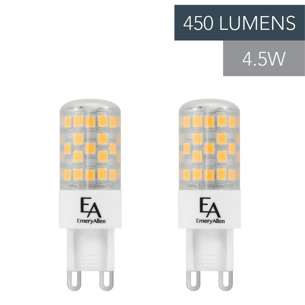50-Watt Equivalent G9 Base Dimmable 3000K LED Light Bulb Soft White (2-Pack)