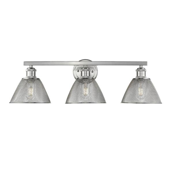 Carver 3-Light Pewter with Mesh Shades Bath Vanity Light