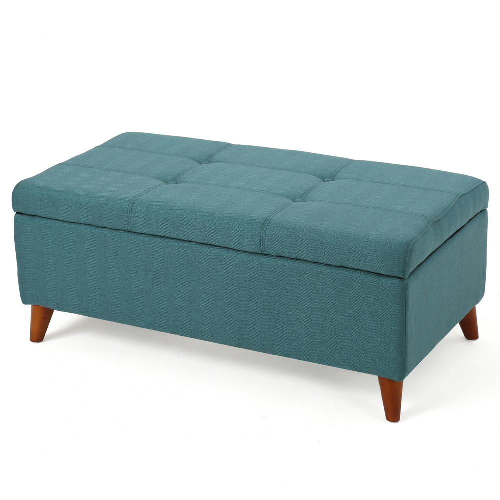 NobleHouse Noble House Kamden Teal Fabric Storage Ottoman, Blue