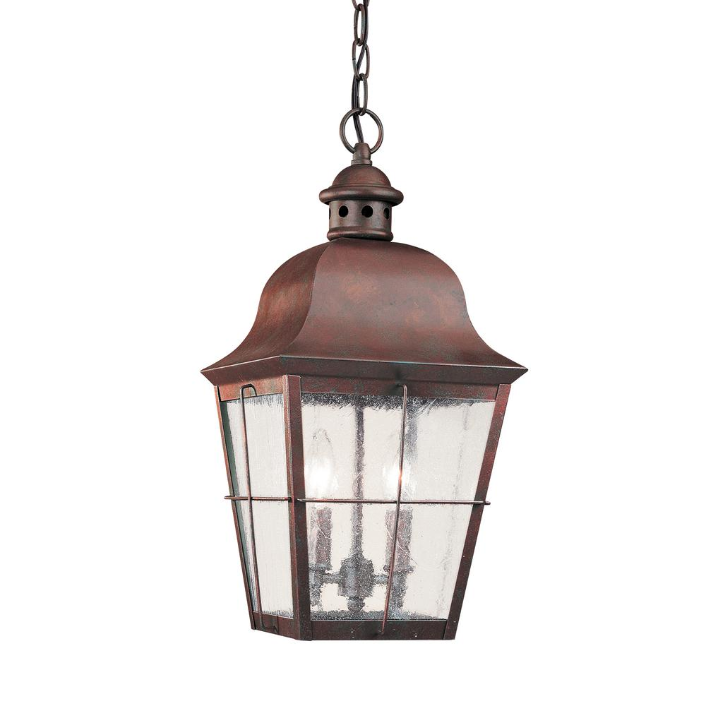 Chatham 2-Light Silver Outdoor Hanging Pendant with Dimmable Candelabra LED Bulb