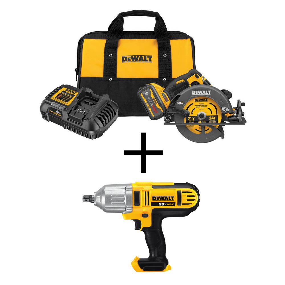 DEWALT FLEXVOLT 60-Volt MAX Li-Ion Brushless 7-1/4 inch Cordless Circular Saw w/ 20V Cordless 1/2 inch Impact Wrench(Tool-Only)