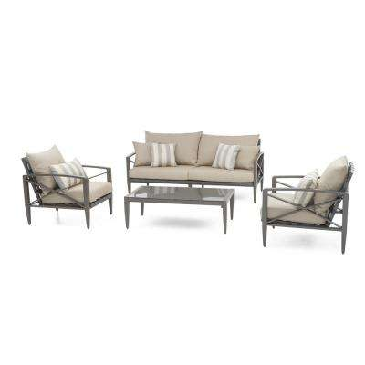Knoxville Taupe 4-Piece Aluminum Patio Seating Set with Slate Grey Cushions
