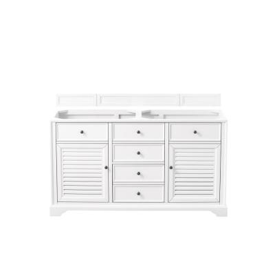 Savannah 60 in. Double Bath Vanity Cabinet Only in Bright White