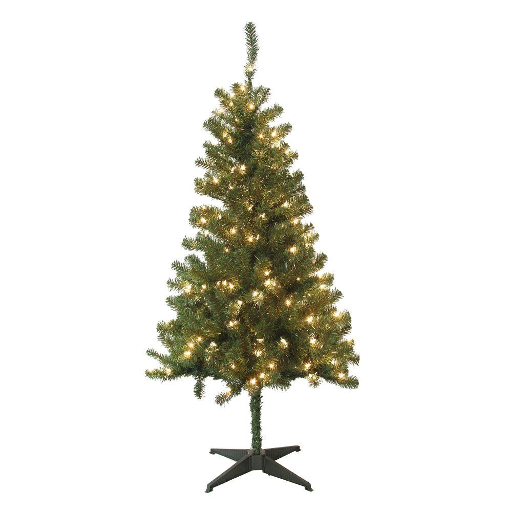 home accents holiday 5 ft wood trail pine artificial christmas tree with 200 clear lights - Pre Decorated Artificial Christmas Trees