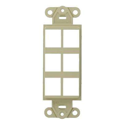 1-Gang Decora QuickPort 6-Port Insert in Ivory