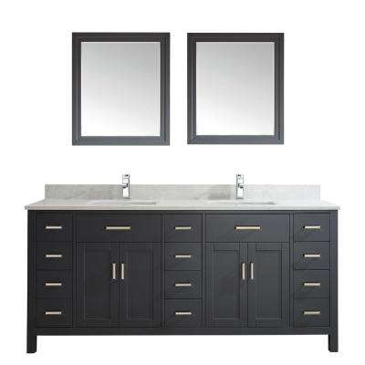 Kalize II 75 in. W x 22 in. D Vanity in Pepper Gray with Thin Engineered Vanity Top in White with White Basin and Mirror