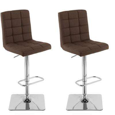 Adjustable Height Dark Brown Square Tufted Fabric Bar Stool (Set of 2)