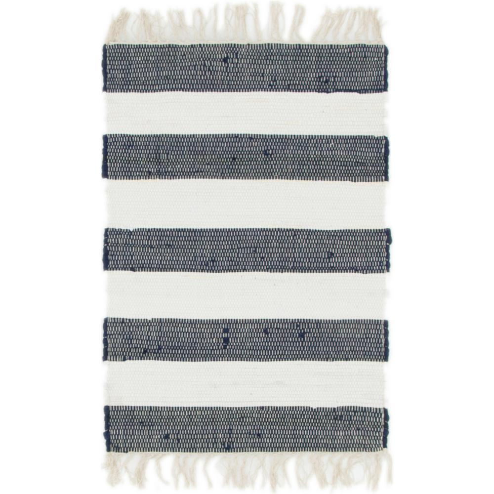 Stylewell Lorelei Navy Ivory 2 Ft X 3 Striped Area Rug