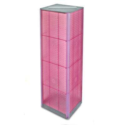 60 in. H x 16 in. W Pegboard Tower in Pink Styrene