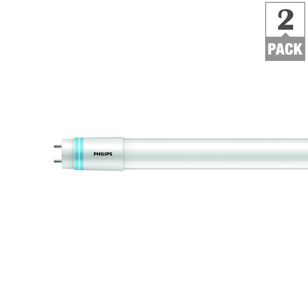 Philips 32-Watt T8/ 40-Watt T12 4 ft  Linear Replacement Universal Fit LED  Tube Light Bulb Bright White (3000K) (2-Pack)