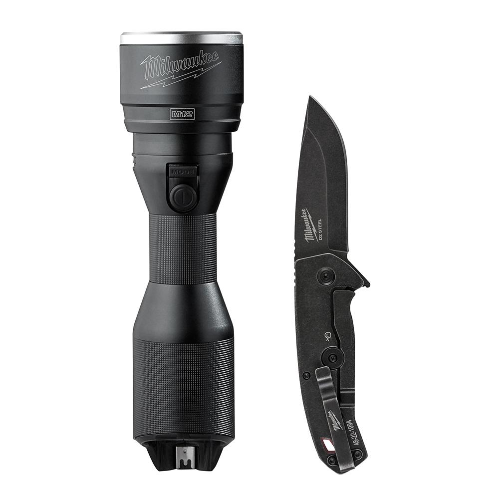 M12 12-Volt Lithium-Ion Cordless LED Metal Flashlight with Free Knife