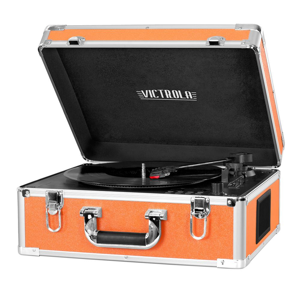 Full Size Suitcase Record Player with Bluetooth in Orange The Victrola full size suitcase record player packs a serious punch. Sleek aluminum trim and portable carry handle looks as good as this beauty sounds. 3-speed turntable, Bluetooth and CD player make playing your favorite tunes easy.