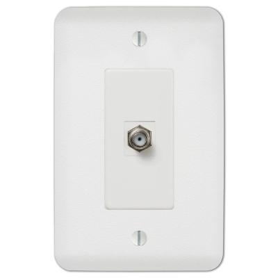 Perry 1 Gang Coax Steel Wall Plate - White