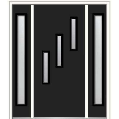 64 in. x 80 in. Davina Right-Hand Inswing 3-Lite Frosted Modern Painted Steel Prehung Front Door with Sidelites
