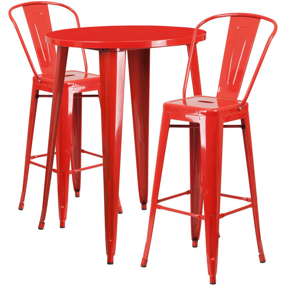 Flash Furniture 30 in. Round Red Metal Indoor-Outdoor Bar Table Set ...