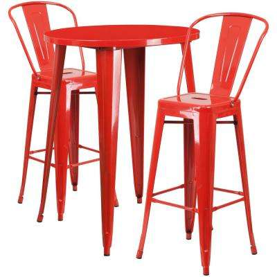 30 in. Round Red Metal Indoor-Outdoor Bar Table Set with 2-Cafe Barstools