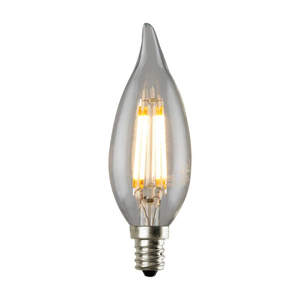 35w equivalent 2700k ca12 dimmable led flame tip filament bulb