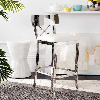 Zoey 26.5 in. Stainless Steel Cross Back Counter Stool in White
