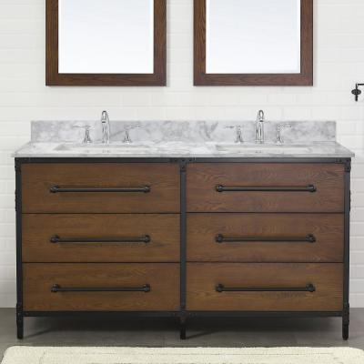 Grandburgh 61 in. W x 22 in. D Bath Vanity in Coffee Swirl with Marble Vanity Top in Carrara with White Sinks