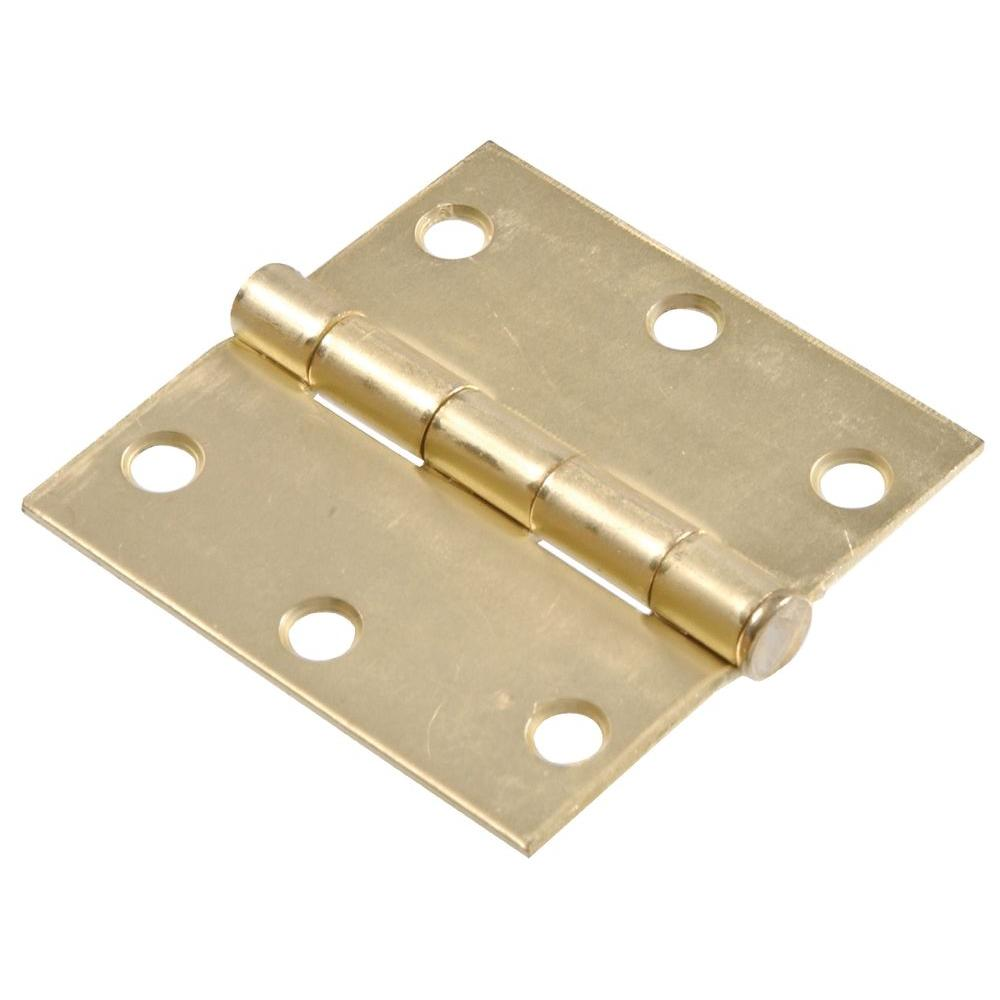 3 in. Satin Brass Residential Door Hinge with Square Corner Removable