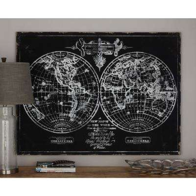 36 in. x 48 in. World Hemisphere Map Printed Framed Canvas Wall Art