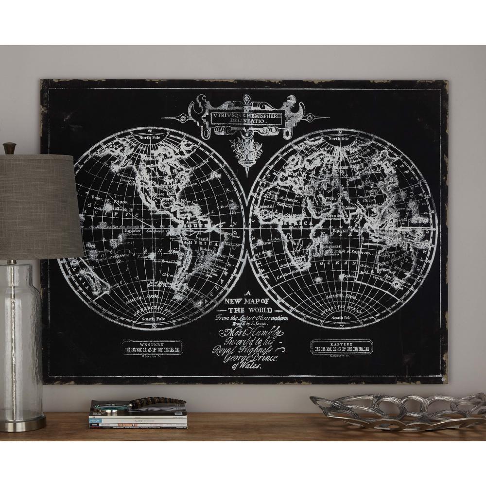 Litton Lane 36 in. x 48 in. World Hemisphere Map Printed Framed