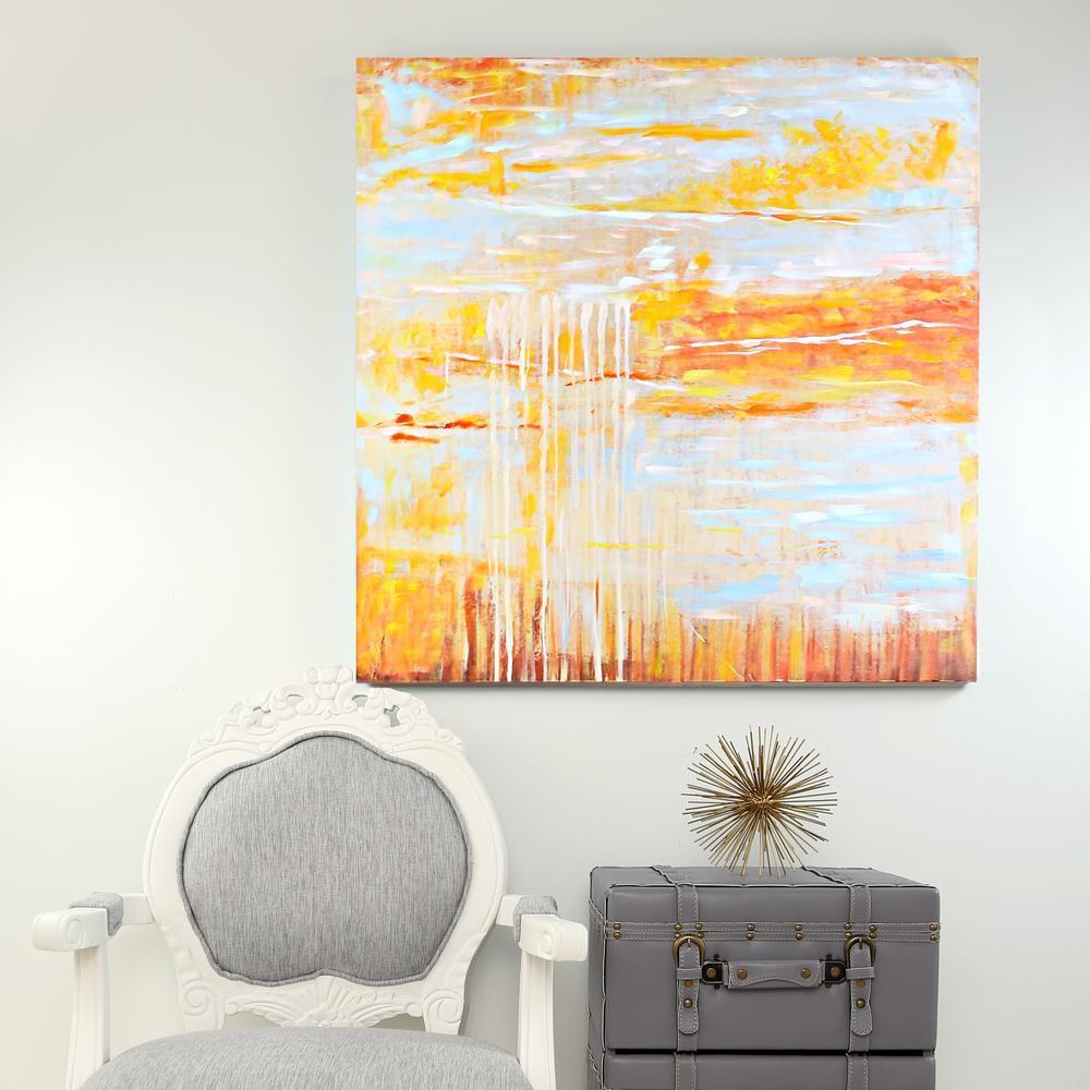 River of Goods 36 in. x 36 in. Tan and Gold Printed Canvas Wall Art ...