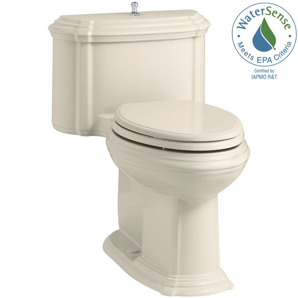 KOHLER Portrait 1-piece 1.28 GPF Single Flush Elongated Toilet with AquaPiston Flush Technology in Almond