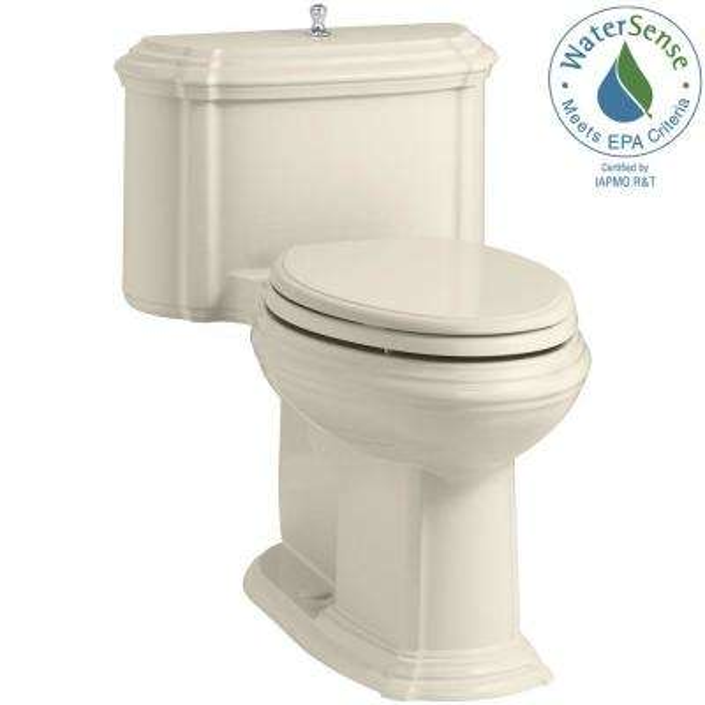 Portrait 1-piece 1.28 GPF Single Flush Elongated Toilet with AquaPiston Flush Technology in Almond