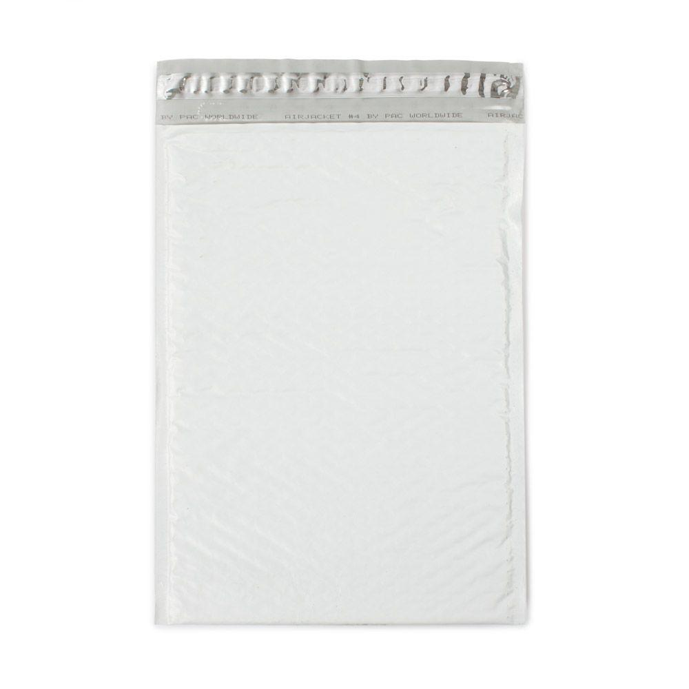 Pratt Retail Specialties 9.5 in. x 13.75 in. White Poly Bubble Mailers Envelope with Adhesive Easy Close Strip (100-Case)